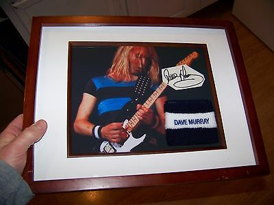 IRON MAIDEN DAVE MURRAY Framed Wristband Sweat Band & Picture & Signed Autograph