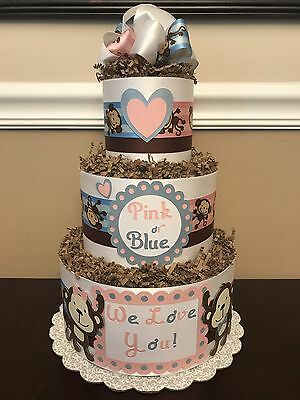 Diaper Cake Gender Reveal Monkey Pink & Blue Pampers Baby Shower Centerpiece