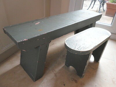 Pair of vintage wooden child's low benches or footstools, pale green shabby chic