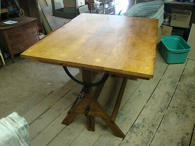 VINTAGE OAK & BIRCH HAMILTON DRAFTING DRAWING  Dining Kitchen Island TABLE