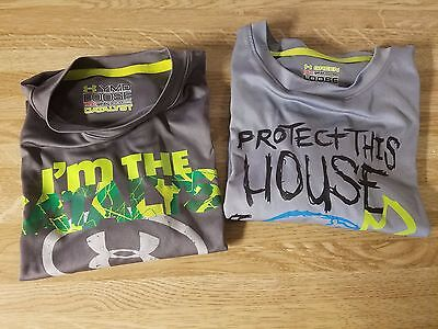 Youth Under Armour UA Heat Gear Short Sleeve Lot Of 2 Shirts Size: YMD Medium