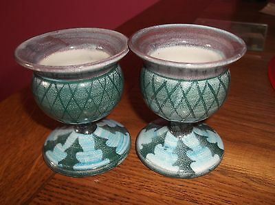 Tain Pottery Scotland Scottish Pair Thistle Egg Cups / Candle Holders ?