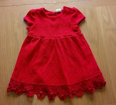 H&M Baby Toddler Girls Red Lace Dress 9-12 months Summer Party