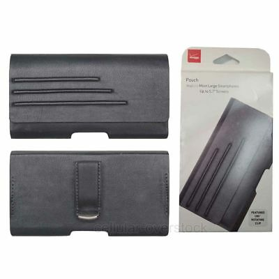 """Verizon Universal Cell Phone Leather Pouch Cover Case with Belt Clip up to 5.7"""""""