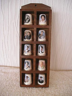 Wooden Thimble Stand With 10 St George Royal China Thimble Set