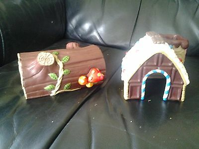 Dwarf Hamster Gingerbread House and Toadstool Log Complete, Bright and Clean VGC