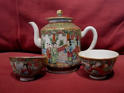 Beautiful Vintage Chinese Oriental Famille Rose Teapot And Two Tea Bowls