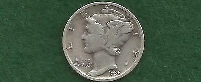 Older circulated 1936-D Mercury Silver  Dime