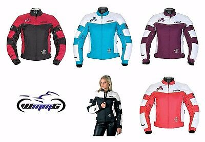 Spada Lara Ladies Waterproof Textile Motorcycle Jacket Pink Black Blue Purple