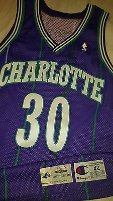 Dell Curry 94-95 Charlotte Hornets Game Used Champion Authentic Jersey  Warriors
