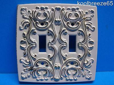 Vintage White & Gold Metal Double Light Switch Cover French Provencial Shabby