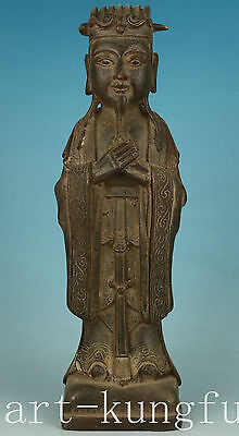 Blessing Big Chinese Old iron casting buddha money king Statue