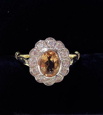18ct Yellow Gold Citrine and Diamond Cluster Ring - Size O