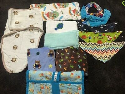 Baby Boy Accessories Pack, Swaddles, dribble Bibs, Change Mat Covers
