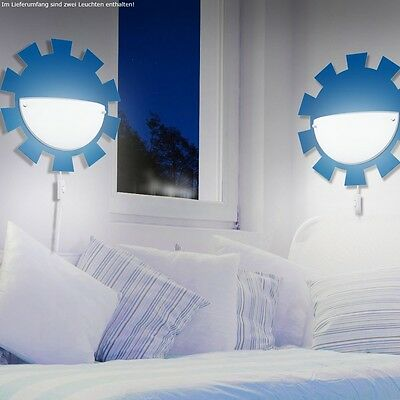 Design Set of Two Night Light Wall Room Lighting Cable Switch Blue White