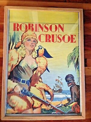 Original 30s English Theater Stage Play Robinson Crusoe Racist Blackface Poster