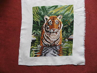 Completed cross stitch kit of a Tiger