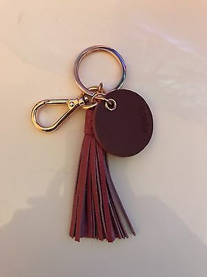 New Mimco Tassel Keyring Pink Leather & Rose Gold