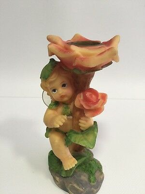 Candle Holder Fairy Angle With Flowers Mythical Porcelain  Good Condition