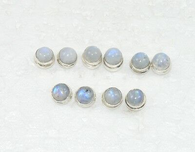 Wholesale 5Pair 925 Silver Plated Natural White Rainbow Moon Stone Earring Lot