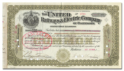 United Railways & Electric Company of Baltimore Stock Certificate