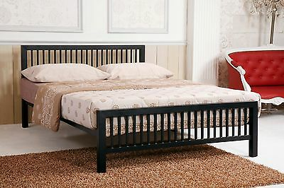 Meridian Black Metal Bed Frame Modern Style Extra Strong Single Double King Size