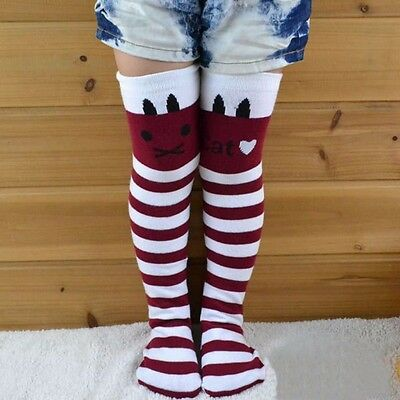 Toddlers Kids Girls Cotton Red/White Cat Striped Knee High Socks 2-7Y