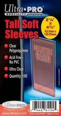 """1 Pack of 100 Ultra Pro Tall Card Sleeves 2 1/2"""" x 4 3/4"""""""
