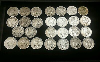 27 Mixed Lot Morgan And Peace Silver Dollars