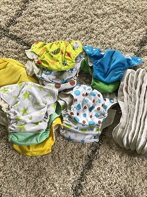 Baby Boy Lot Of Cloth Diapers KaWaii Baby Set Of 12 Diapers And 21 Inserts