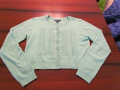 EUC Gap Kids Girl's Size XXL 14-16 Turquoise Pointelle Crop Cardigan Sweater