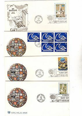 1974-75 United Nations Various Fdc's X4 From Collection E10