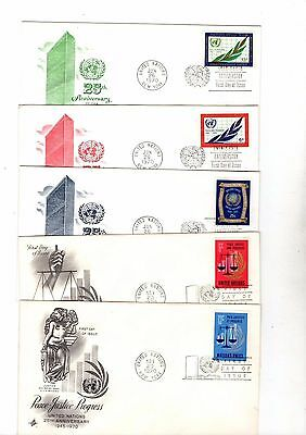 1970 United Nations Various Fdc's X5 From Collection E3