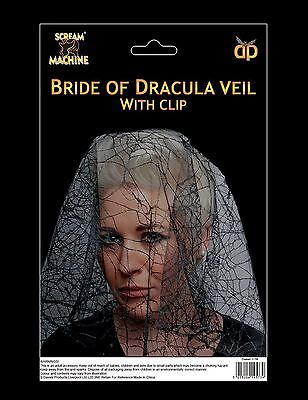 Halloween Bride Of Dracula Veil Spooky Spiderweb Horror Fancy Dress Prop Party