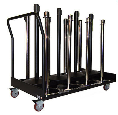 Crowd Control Stanchion Storage Cart for Retractable Belt or Rope Stanchions