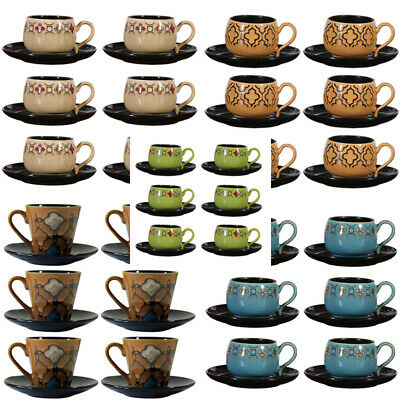 6 Small Cups and Saucers Set Ceramic Floral Embossed Tea Coffee Mug 4 Colours