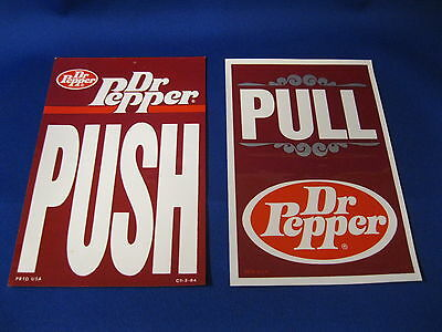 Dr Pepper Two Different Push - Pull Decals  Nos