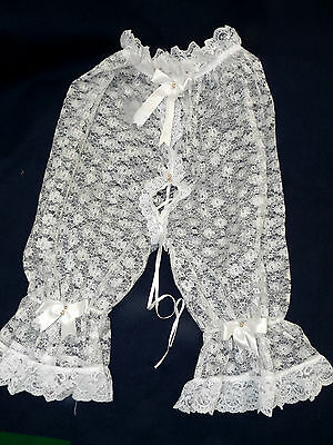 white lace see through pants knickers sissy tv maid AB 26 to 52 waist 27 long