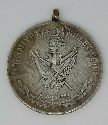1960 Turkey 27 May REVOLUTION - Silver 10 Lira Coin Pendant