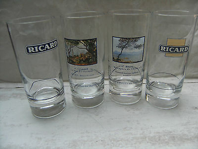 4 verres Ricard tube pour collection