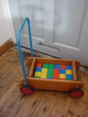 1979s Push Along Trolley With Wooden Bricks Toddler