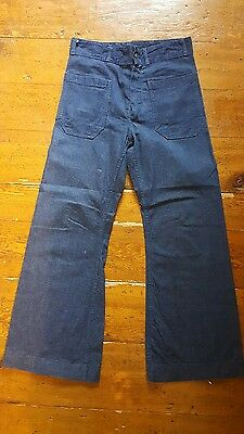 Vintage Seafarer Dungaree Sailor 70s US Denim Hi waisted Bell Bottom Jean Pants