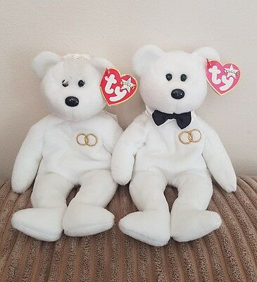 Ty Beanie Baby Babies Bear Mr & Mrs White Wedding Bears  - With Tags