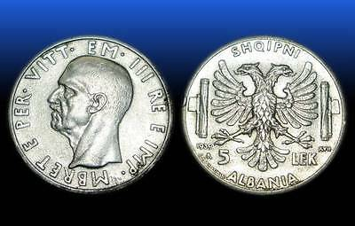 5 LEK . SILVER COIN. MADE IN ITALY . ALBANIA 1939 - nr 9
