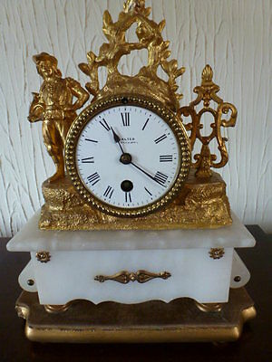 French gilded 8 day mantel clock c1890