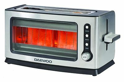 Daewoo 2 Bread Slice Stainless Steel & Glass Toaster Defrost, Reheat Bagel