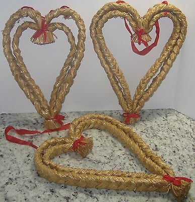 Set of 3 Vintage LARGE WOVEN Braided STRAW HEARTS Wall Door Art SWEDEN Christmas