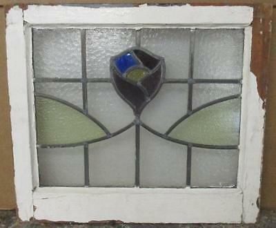 """OLD ENGLISH LEADED STAINED GLASS WINDOW Absolutely Stunning Floral 19.5"""" x 17"""""""