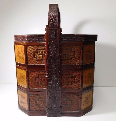 Antique Asian Hand Woven Rattan Hand Carved Wood 3 Tiered Handle Wedding Basket