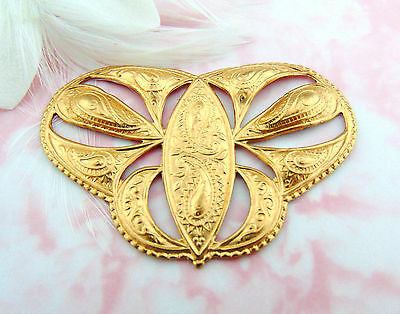 BRASS Victorian Scroll Embossed Ornament Plaque Brass Stampings Findings (FC-18)